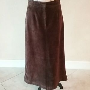Lord & Taylor Petite Leather A-Line Maxi Skirt